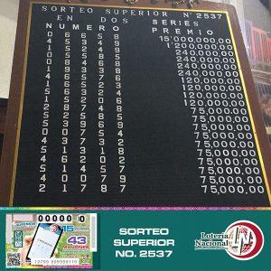 Sorteo Superior 2537 Lotería Nacional para la Asistencia Pública