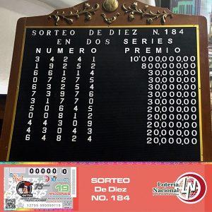 Lotería Nacional para la Asistencia Pública dedicó su Sorteo de Diez número 184