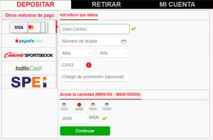 Depósitar y retirar dinero en Caliente.mx